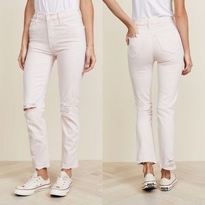 Mother High Waisted Rascal Ankle Jeans Soft Pink